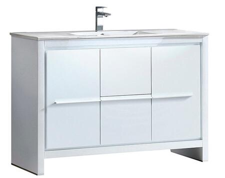 Allier FCB8148WH-I 48 inch  Single Sink Vanity with 2 Soft Closing Doors  2 Soft Closing Drawers and Integrated Sink in