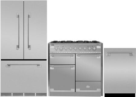 3-Piece Stainless Steel Kitchen Package with MELFDR23SS 36 inch  French Door Refrigerator  AEL48DFSS 48 inch  Freestanding Dual Fuel Range  and AELTTDWSS 24 inch  Fully