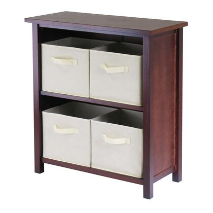 94871 Verona 2-Section M Storage Shelf in Walnut with 4 Foldable Beige Fabric