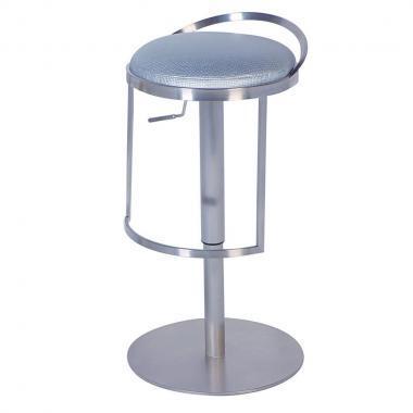 0571-AS-SLV Adjustable Height Swivel Bar Stool: