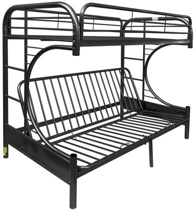 Eclipse Collection 02093BK Twin Over Queen Size Futon Bunk Bed with Built-In Side Ladders  Full Length Guard-Rail  Slat System Included and Metal Tube Frame in