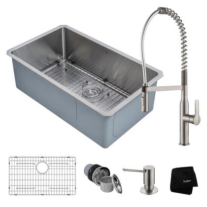 KHU100-30-1650-41SS Kitchen Combo with Handmade Undermount Stainless Steel 30 in. Single Bowl 16 Gauge Kitchen Sink and Nola Commercial Kitchen Faucet with