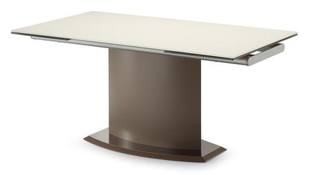 DISCO.T.16ME.TO.VCA Discovery Rectangular Dining Table with Extendable Glass Leaves  Tempered Glass Top and Taupe Matt Lacquered Steel