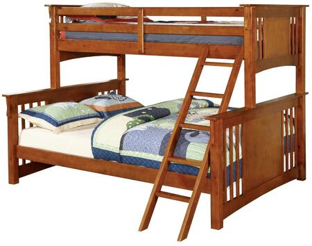Spring Creek Collection CM-BK604OAK-BED Twin XL Over Queen Size Bunk Bed with Angled Ladder  10 PC Slats Top/Bottom  Solid Wood and Wood Veneer Construction in