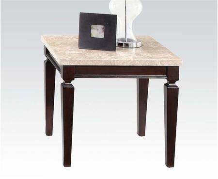 Agatha Collection 80481 54 inch  End Table with White Marble Top  Square Shape and Tapered Legs in Espresso