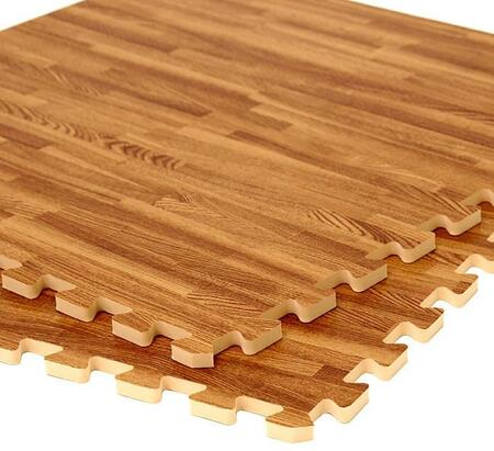 E-1715 4-Piece Interlocking Floor Mats with 16 sq. ft. Coverage  Shock Absorbent and Commercial Grade in Wood