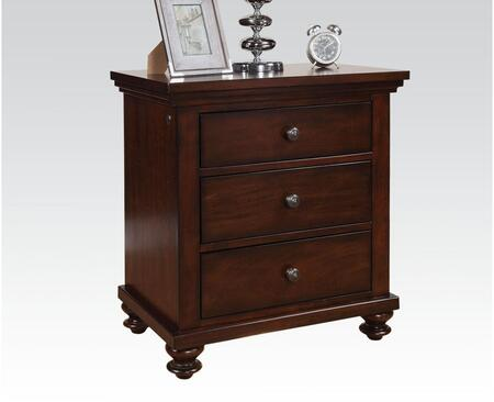 Aceline Collection 21384 28 inch  Nightstand with 3 Drawers  LED Floor Light  Charging Dock  Poplar Wood and Veneer Materials in Brown Cherry