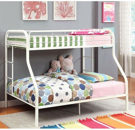 Rainbow Collection CM-BK1033-WH-BED Twin Over Full Size Bunk Bed with Both Sides Attached Ladder  Improved Rail Reinforcement and Metal Construction in White