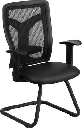 WL-F065V-LEA-A-GG Galaxy Black Mesh Side Arm Chair with Leather Seat and Adjustable Lumbar