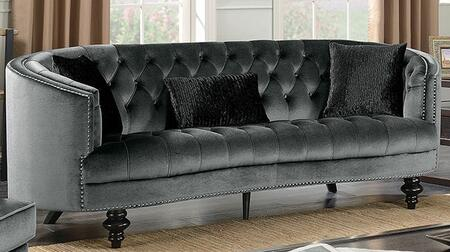 Manuela CM6145GY-SF Sofa with Turned Legs  Nail Head Accents and Flannelette Fabric Upholstery in Dark