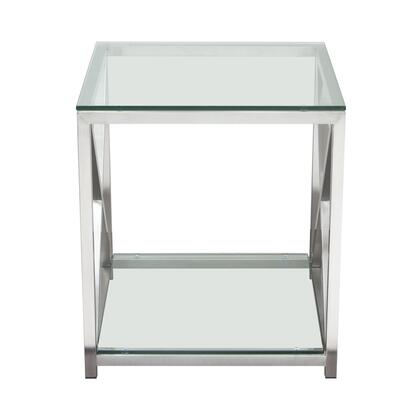 """X-Factor_XFACTORET_21""""_End_Table_with_Clear_Glass_Top_&_Shelf_and_Brushed_Stainless_Steel"""