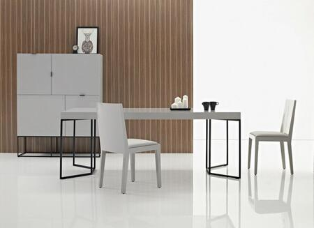 CP1411DP04SS4TCHC Luna 4 PC DIning Room Set with Dining Table + 2  Chairs + Cabinet in High Gloss Avorio