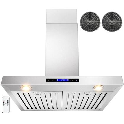 GWRZ130 30 inch  Wall Mounted Range Hood with 760 CFM  65 dB  Innovative Touch  Halogen Lighting  3 Fan Speed  Stainless Steel Baffle Filter  Remote Control and