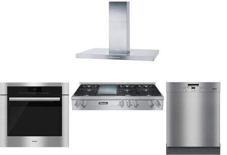 4-piece Stainless Steel Kitchen Package With Kmr1356lp 48 Liquid Propane Rangetop (6 Burners  Griddle)  Da424v 48 Island Mount Hood  H6780bp 30 Single Wall