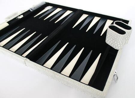 CRO201GR 18 inch  Backgammon Set with Instructions  Dice  Playing Cups  and Chips: Faux Crocodile