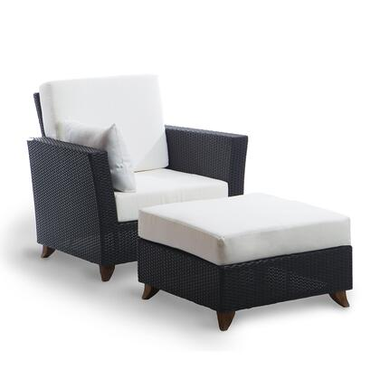 PR2530-W 2-Piece Patio Set with Rattan Deep Arm Chair and Ottoman in