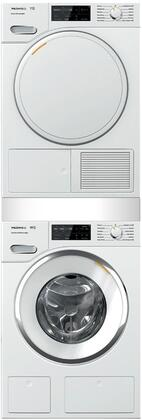 White Stacked Front Load Laundry Pair with WWH660WCS 24 inch  Front Load Washer  TWF160WP 24 inch  Electric Dryer  and WTV512 Stacking Kit