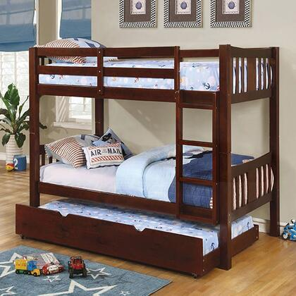 Cameron Collection CM-BK929EX-BED+TR Twin Size Bunk Bed with Trundle  10 PC Slats Top/Bottom  Front Access Fixed Ladder  Solid Wood and Wood Veneer