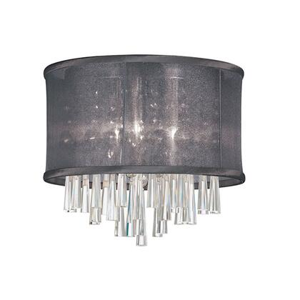 JOS103FH-PC-115 3 Light Crystal Flush Mount Fixture  Polished Chrome  Black Organza Drum