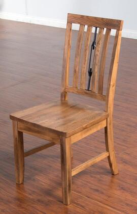 "Sedona Collection 1498RO 40"""" Turnbuckle Back Side Chair with Wooden Seat  Slat Back and Stretchers in Rustic Oak -  Sunny Designs"