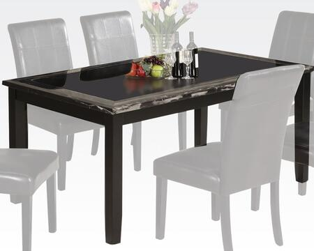 Blythe Collection 71060 64 inch  Dining Table with 7mm Tempered Black Glass Top Insert  Black Faux Marble Top Edges and Medium-Density Fiberboard