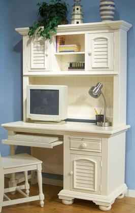 Cottage Traditions 6510-342-546 Computer Desk and Hutch with One Drawer  One Door and Bun Feet in Eggshell