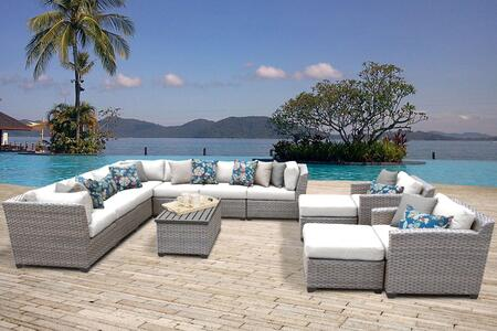 Florence Collection FLORENCE-13a-WHITE 13-Piece Outdoor Wicker Patio Set with 2 Covers: Grey and