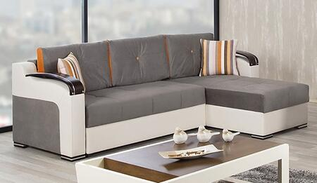 Divan Deluxe DIDESECGG Sectional with Pillows  Storage Under the Seats  Stitched Detailing  Curved Arms and Block Feet with Woodlike and Stainless Steel