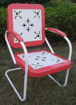 "Retro Collection 71540 36"""" Metal Chair with Decorative Vintage Stamped Design and Square 2-Tone Back and Seat in"" 251098"