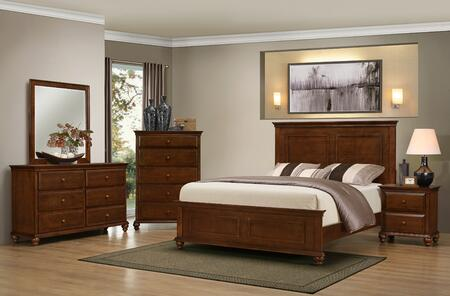 1001-5052/68SQ Raleigh Bedroom Set Including Queen Bed  Dresser  Mirror  Chest and Nightstand with Molding Detail  Bun Feet  Distressed Detailing and Turned