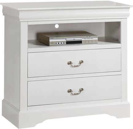 Louis Philippe III Collection 24507 37 inch  TV Console with 2 Drawers  1 Open Compartment  Brushed Nickel Metal Handles  Pine Wood and Gum Veneer Materials in