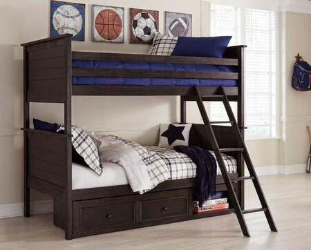 Jaysom Collection B521-59P/59R/59S/50 Twin over Twin Bunk Bed with Underbed Storage Pedestal  Ladder Included and Gentle Distressing in