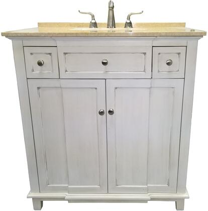 Brighton 2009WC 34 inch  Single Sink Vanity with Cream Marble Top  1 inch  Backsplash  1 Porcelain Undermount Sink  1 Shelf and 2 Felt-Lined Drawers with Metal Roller