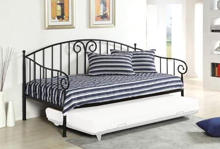 Hamden Collection CM1603BK Twin Size Daybed with Curved Design  Link Spring Included and Metal Contruction in Black