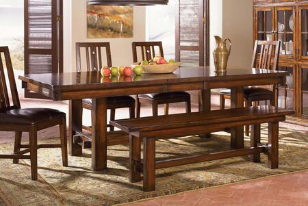 Mesa Rustica MESAM6370 76 inch -92 inch  Trestle Table with 16 inch  Self-Storing Leaf  Equalizing Cable Glides and Solid Mahogany Construction in Aged Mahogany