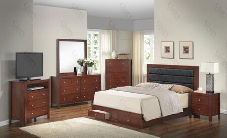 G2400cqsbset 6 Pc Bedroom Set With Queen Size Panel Bed + Dresser + Mirror + Chest + Nightstand + Media Chest In Cherry