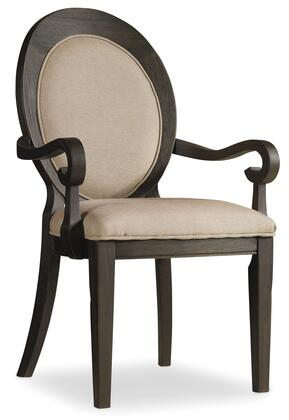 Corsica Series 5280-75402 41 inch  Traditional-Style Dining Room Dark Oval Back Arm Chair with Tapered Legs  Piped Stitching and Fabric Upholstery in