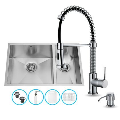 VG15052 Double Basin Stainless Steel Undermount Kitchen Sink and Faucet Combination with Soap Dispenser  Embossed VIGO Cutting Board  Two Sink Grids and Two