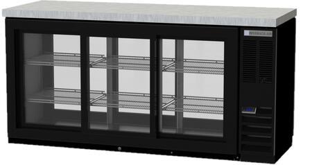 BB72HC-1-GS-PT-B-27 72 Pass-Thru Back Bar Refrigerator with 22.1 cu. ft. Capacity  LED Lighting  Self-Closing Sliding Glass Doors  and Epoxy Coated