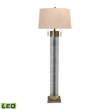 290-LED Mercury Glass Cylinder LED Floor Lamp with Antiqued Brass