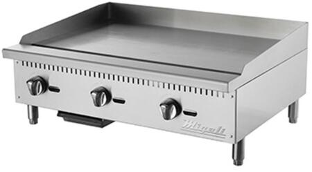 C-G36 36 inch  Competitor Series Commercial Natural Gas Griddle with 3 Burners  Manual Ignition  Stainless Steel Construction  and Removable Waste Tray  in
