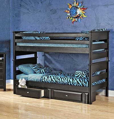 3534520-4521-S Twin Over Twin Bunk Bed with Storage Black