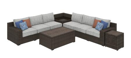 Alta Grande Collection P782-5PSECB-CTET Patio Set with 5PC Sectional Sofa  Cocktail Table and End Table in Brown and
