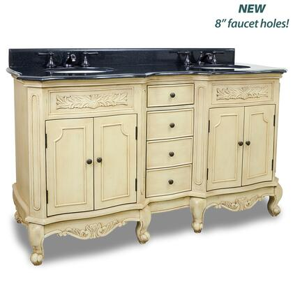 VAN061D-60-T 60.875 inch  Double Vanity With Preassembled Top  Bowl  and 8 inch  Faucet Holes  in