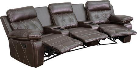 BT-70530-3-BRN-CV-GG Real Comfort Series 3-Seat Reclining Brown Leather Theater Seating Unit with Curved Cup 548624