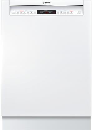 "Bosch 800 Series 24"" Recessed Handle Dishwasher with Stainless Steel Tub White SHEM78W52N"