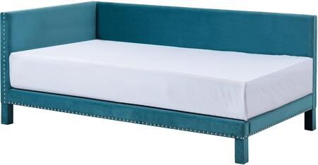 Ryleigh Collection 926812 Twin Size Daybed with Nail Head Trim  Square Profile  Selected Hardwoods Construction and Fabric Uphlostery in Teal