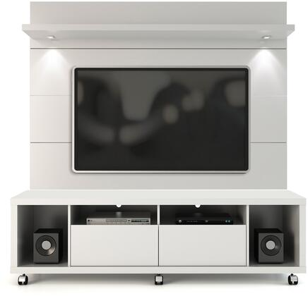 "Cabrini 1.8 Collection 2-1548482252 71"" TV Panel with LED Lights 5 Shelves and Wheels in White thumbnail"