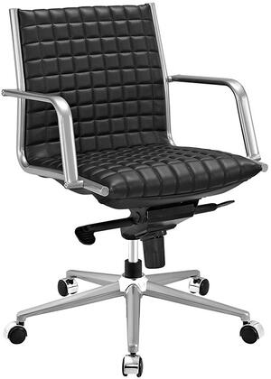 Pattern Collection EEI-2123-BLK Office Chair with 360-Degree Swivel  Adjustable Height  Tilt Control  Five Dual-Wheel Nylon Casters  Polished Steel Armrests