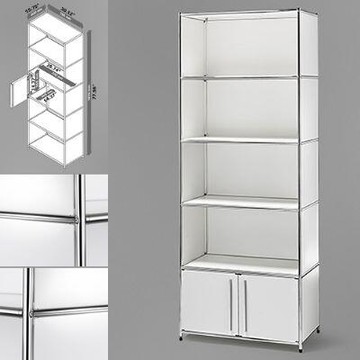 814495012345 30 inch  Wide System4-SIMPLI Modular Bookcase with 5 Shelves and One Double Door  Steel Construction in White and Chrome